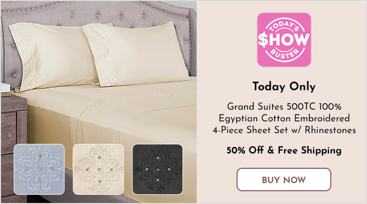 484-265 Grand Suites 500TC 100% Egyptian Cotton Embroidered 4-Piece Sheet Set w Rhinestones