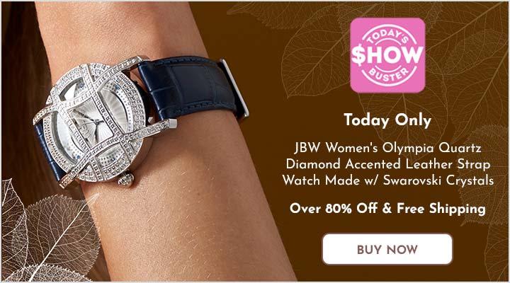 675-055 JBW Women's Olympia Quartz Diamond Accented Leather Strap Watch Made w Swarovski Crystals