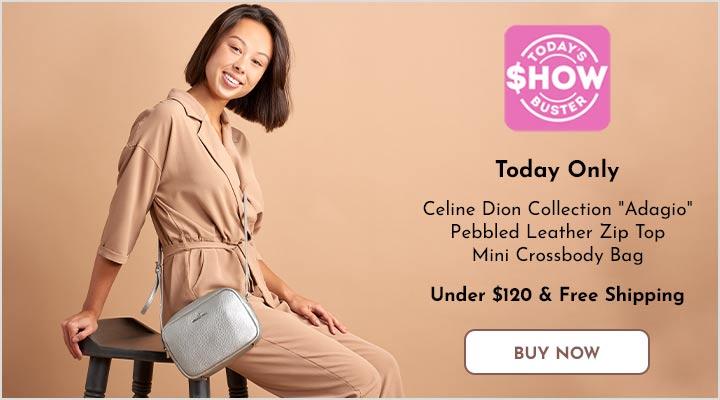 740-701 Celine Dion Collection Adagio Pebbled Leather Zip Top Mini Crossbody Bag