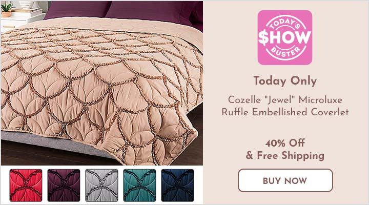 482-824 Cozelle® Jewel Microluxe™ Ruffle Embellished Coverlet