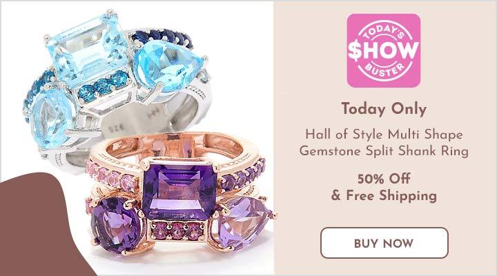 185-926 Hall of Style Multi Shape Gemstone Split Shank Ring