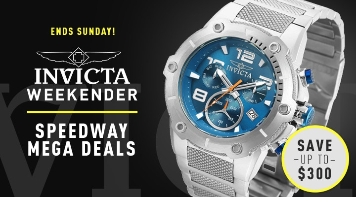 678-769 Invicta Men's 51.5mm Speedway Quartz Chronograph Stainless Steel Bracelet Watch. |. 669-579 Invicta Men's 51mm Speedway Quartz Chronograph Silicone & Stainless Steel Strap Watch