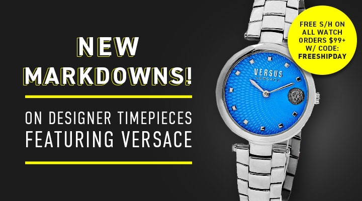 New Markdowns! On Designer Timepieces Ft. Versace | FREE SH ON ALL WATCH ORDERS $99+ W CODE: FREESHIPDAY 676-113 Versus Versace Women's Buffle Bay Quartz Stainless Steel Bracelet Watch