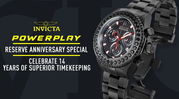 Invicta Power Play: Reserve Anniversary Special Celebrate 14 Years Superior Timekeeping - 684-805 Invicta Reserve Men's 52mm Russian Diver Compass Blue Label Swiss Quartz Mother-of-Pearl Strap Watch
