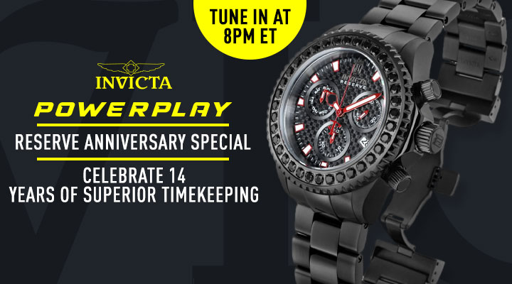 Tune In At 8PM ET Invicta Power Play: Reserve Anniversary Special Celebrate 14 Years Superior Timekeeping- 684-805 Invicta Reserve Men's 52mm Russian Diver Compass Blue Label Swiss Quartz Mother-of-Pearl Strap Watch