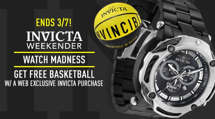 Ends 37! Invicta Weekender: Watch Madness Get Free Basketball W A Web Exclusive Invicta Purchase - 690-505 Invicta Shaq Men's 60mm Swiss Quartz Chrono Date Carbon Fiber & Stainless Steel Bracelet Watch