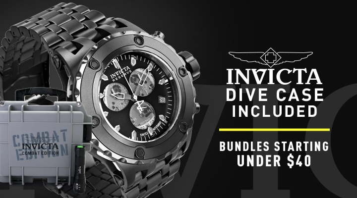 682-521 Invicta Reserve 52mm Subaqua Specialty Combat Swiss Quartz Watch w Flashlight & 1-Slot Dive Case