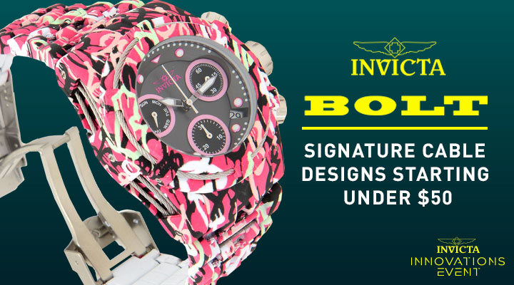 Invicta Bolt Signature Cable Designs Starting Under $50 683-620 Invicta 42mm or 52mm Bolt Zeus Graffiti Quartz Chronograph Hydroplated Watch
