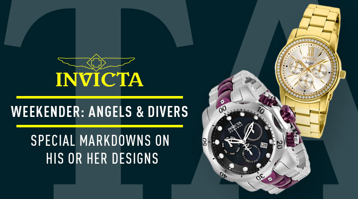 Invicta Weekender: Angels & Divers Special Markdowns On His Or Her Designs - 680-480 Invicta Reserve Men's 54mm Venom Swiss Quartz Chronograph Purple & Silver-tone Bracelet Watch -  663-798 Invicta Women's Angel Quartz Chronograph Day & Date Crystal Accented Gold-tone Bracelet Watch
