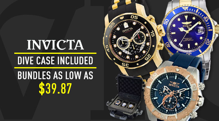 Invicta Dive Case Included Bundles As Low At $39.87 - 690-910 Invicta Collector's Set of 3 Watches in 3-Slot Dive Case