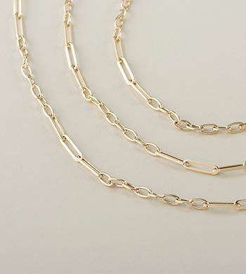 Glamorous Gold Save Up To 40% Off - 194-006 Stefano Oro 14K Gold Choice of Length Paperclip Figaro Necklace