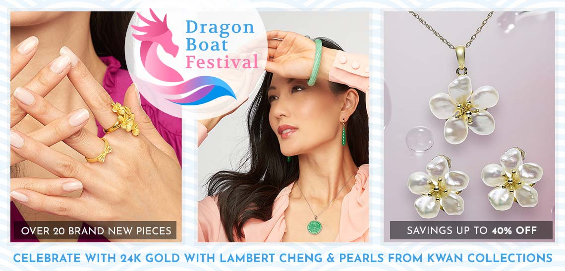 Dragon Boat Festival - Celebrate with 24K Gold with Lambert Cheng & Pearls from Kwan Collections -  163-135 Lambert Cheng 24K Gold Electroform Elongated Floral Bouquet Ring,  190-075 Kwan Collections 7.75 or 8.25 Carved Green Jade Slip-on Bangle Bracelet,  155-590 Kwan Collections 6.5-7mm Freshwater Cultured Pearl Flower Earrings & Pendant Set
