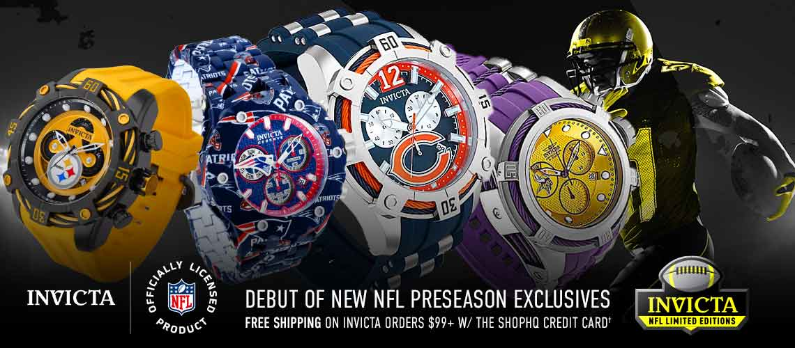 Invicta NFL  - Debut of New NFL Preseason Exclusives & Designs Free Shipping on Orders $99+ Ft. 689-512, 668-481, 689-50, 683-367