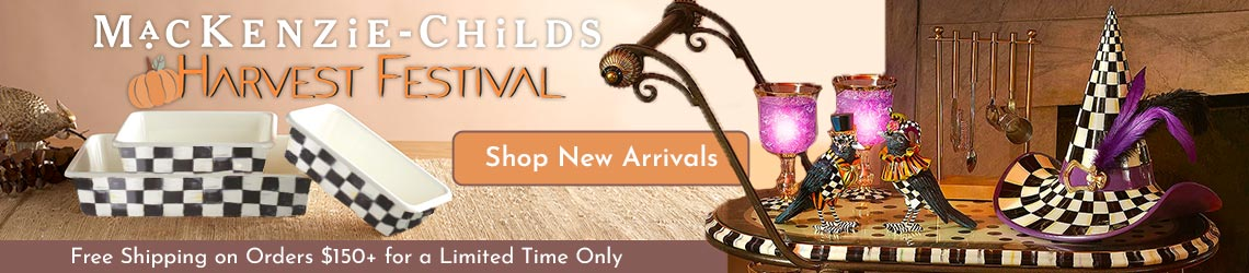 Mackenzie Childs Harvest Festival Ft. 472-700 Set of 3 Hand-Decorated Enamelware Baking Pans, Ft. 503-658 15.5 Decorative Hocus Pocus Hat