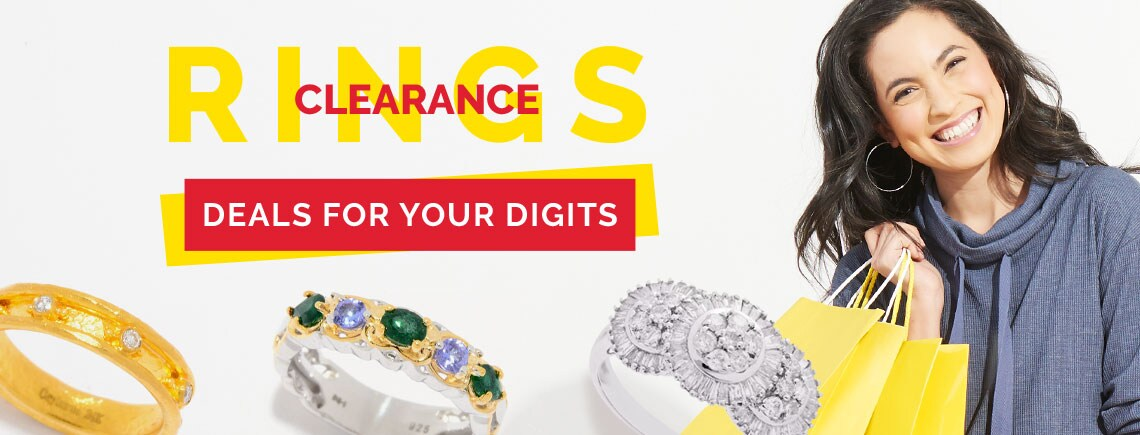 Clearance Rings Deals For Your Digits - 181-704 Cevherun 24K Gold 0.16ctw Diamond Eternity Band Ring  |. 176-292 Gems en Vogue Zambian Emerald & Tanzanite 5-Gem Band Ring. |. 160-775 Fierra™ 14K White Gold 1.07ctw Diamond Ring - Size 7