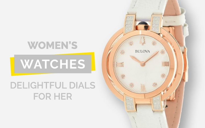 Women's Watches Delightful Dials For Her - 672-282 Bulova Women's Rubaiyat Quartz 0.16ctw Diamond Sapphire Crystal Strap Watch