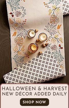 Halloween & Harvest New Décor Added Daily  SHOP NOW - 508-547 Design Imports 14 x 72 Autumn Leaves Embellished Table Runner