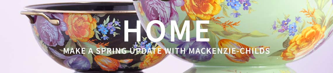 HOME - MAKE A SPRING UPDATE WITH MACKENZIE-CHILDS -  503-300 MacKenzie Childs Choice of Everyday Bowl comes w Gold Check Servers