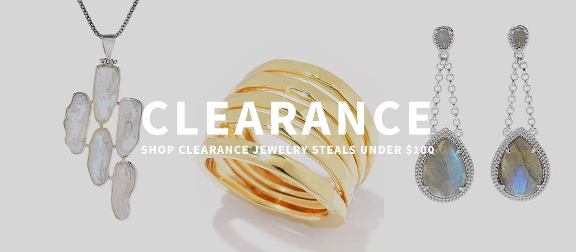 Clearance Shop Clearance Jewelry Steals Under $100 - 176-212 Gem Insider® Sterling Silver 2 Pear Shaped Labradorite Drop Earrings, 171-331 Artisan Silver by Samuel B. 21 x 9mm Freeform Cultured Pearl Pendant w Chain, 182-285 Toscana Italiana Set of 5 18K Gold Embraced™ Acqua Bagnata Stack Band Rings