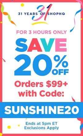 For 3 Hours Only - Save 20% Off Orders $99+ with code: SUNSHINE20 - Exclusions Apply - Ends at 5pm ET