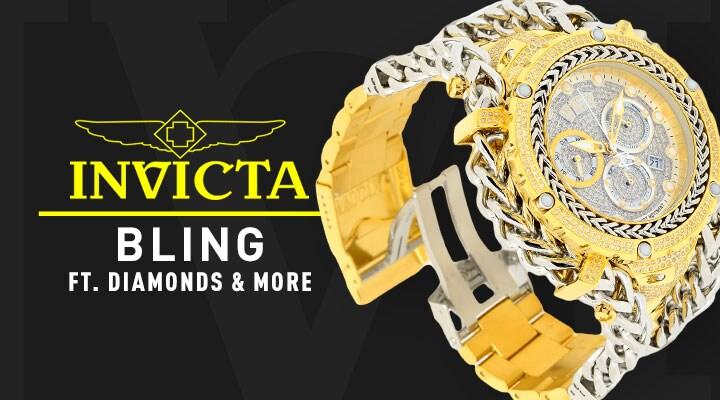 Invicta Bling Ft. Diamonds & More - 687-201 Invicta Reserve Men's 56mm Gladiator Swiss Quartz 2.92ctw Diamond Watch w15-Slot Dive Case