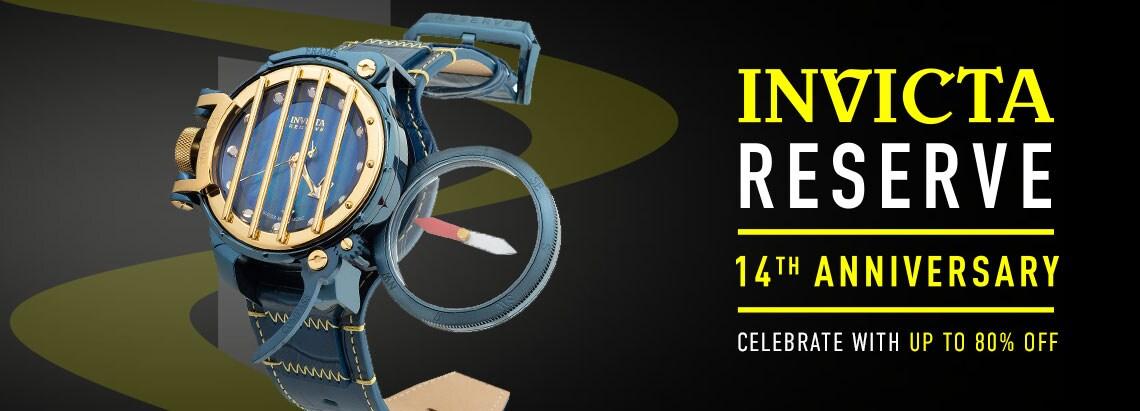 684-805 Invicta Reserve Men's 52mm Russian Diver Compass Blue Label Swiss Quartz Mother-of-Pearl Strap Watch