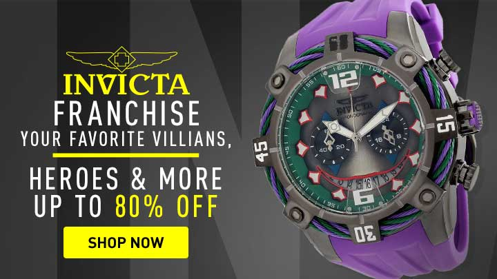 Invicta Franchise Your Favorite Villians, Heroes & More Up To 80% Off - 678-972 Invicta DC Comics Men's 50mm Bolt Limited Edition Quartz Chronograph Polyurethane Strap Watch