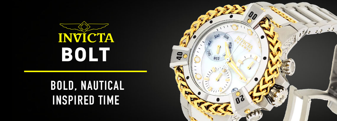 683-597 Invicta Bolt Herc Reserve 43mm Swiss Quartz Chronograph Mother-of-Pearl Bracelet Watch