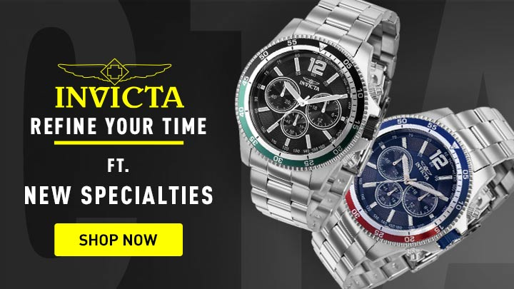 695-037 Invicta 45mm Specialty Quartz Chronograph Black Dial Silver-tone Stainless Steel Bracelet Watch -  695-036 Invicta 45mm Specialty Quartz Chronograph Red & Blue Bezel Stainless Steel Bracelet Watch