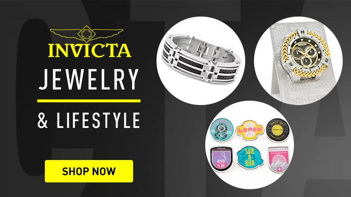 684-966 Invicta Jewelry Men's Stainless Steel 8.75 Choice of Color Cable Inlay Bracelet, 694-068 Invicta Bolt Herc Reserve 6 Quartz Desk Clock, 686-332 Invicta Set of 6 Collection Design Pins