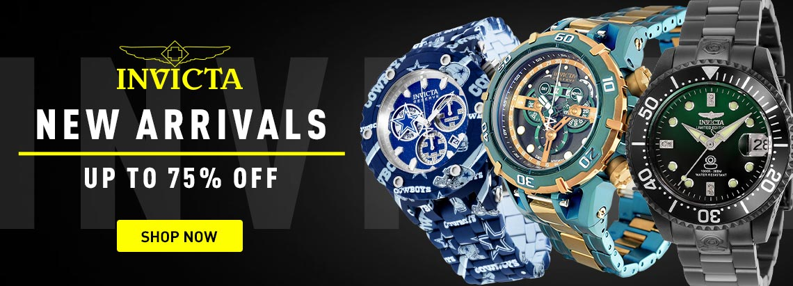 688-066 Invicta Reserve Men's 54mm, 684-808 Invicta 38mm or 47mm Grand Diver, 683-367 Invicta Reserve NFL 52mm Subaqua, Invicta New Arrivals Up to 75% Off