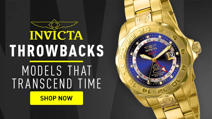 Throwbacks Models That Transcend Time - 697-142 Invicta 44mm Pro Diver Swiss Quartz Date GMT Blue Dial Gold-tone Stainless Steel Bracelet Watch