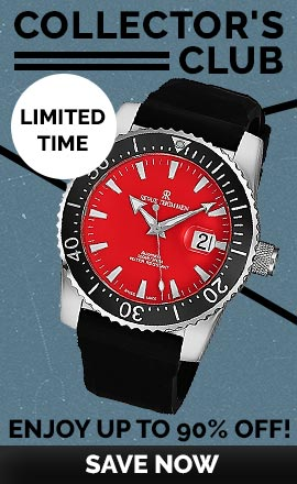 662-783 Revue Thommen Men's 45mm Diver Swiss Made Automatic Date Red Dial Rubber Strap Watch