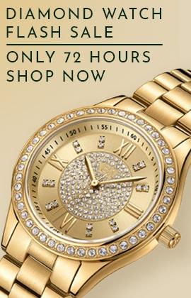 Diamond Watch Flash Sale Only 72 Hours - Shop Now -  697-350 JBW Mondrian Women's Quartz 18K Gold-plated Stainless Steel Bracelet Watch Made wSwarovski Crystals