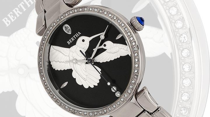 687-249 Bertha Women's Nora Quartz Crystal Accented Stainless Steel Bracelet Watch