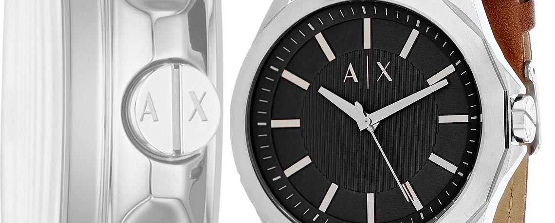 682-723 Armani Exchange Men's 44mm Quartz Brown Leather Strap Watch