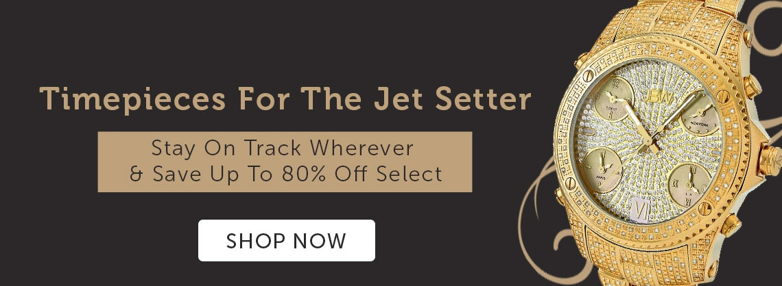 Timepieces For The Jet Setter Stay On Track Wherever & Save Up To 80% Off Select - 633-210 JBW Men's 56mm Jetsetter Swiss Quartz Five Time Zone Diamond Accented Stainless Steel Bracelet Watch