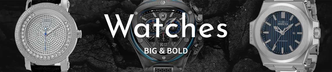 Watches Big & Bold 633-209 JBW Men's 50mm, 689-915 Invicta Men's 58mm Akula Quartz,  670-039 Tonino Lamborghini Men's 54mm