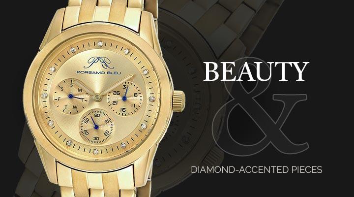 Beauty & 659-178 Porsamo Bleu Women's Diana Quartz Day  Date Diamond Accented Stainless Steel Bracelet Watch