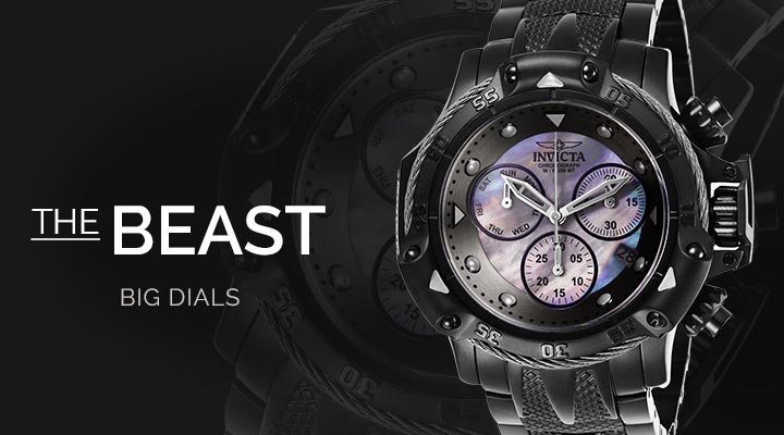 The Beast 662-020 Invicta Men's 55mm Subaqua Quartz Chronograph Mother-of-Pearl Dial Stainless Steel Bracelet Watch