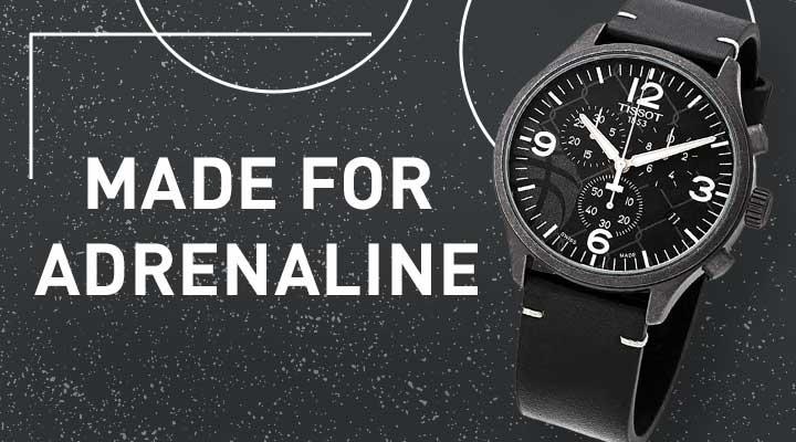 Made for Adrenaline -  695-694 TISSOT MEN'S 45MM QUARTZ LEATHER STRAP WATCH