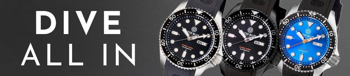 692-019 Deep Blue 44mm NATO Diver 300 Automatic Silicone Strap Watch