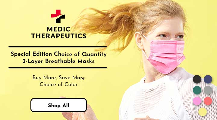 003-484 - Medic Therapeutics Special Edition Choice of Quantity 3-Layer Breathable Masks  Buy More, Save More Choice of Color
