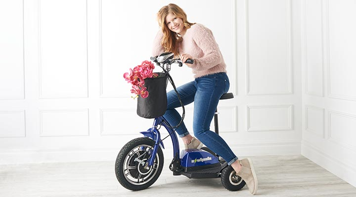 500-245 EWheels 3-Wheel TURBO Sit & Stand Electric Scooter w Basket