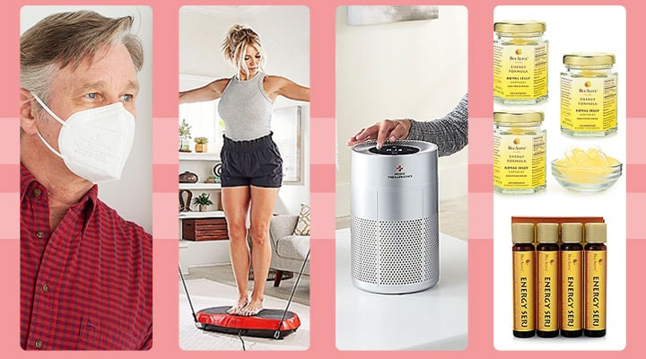 003-154 5-Layer Face Masks, 002-701 Vibrating Fitness Platform, 003-022 HEPA H13 Air Purifier, 002-715 BeeAlive Royal Jelly Energy Capsules