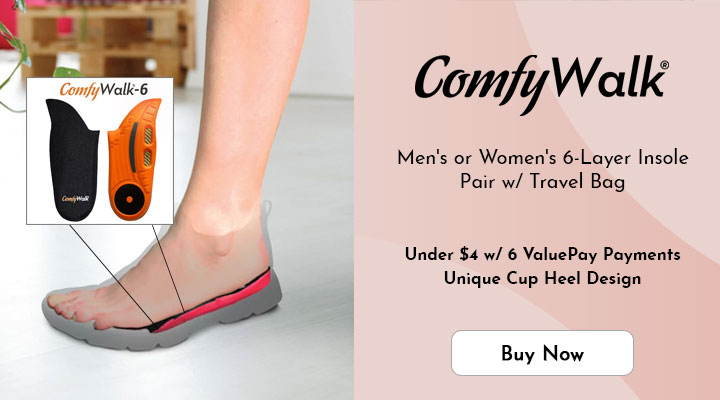 002-684 - ComfyWalk Men's or Women's 6-Layer Insole Pair w Travel Bag