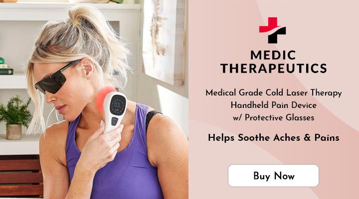 003-124 Medic Therapeutics Medical Grade Cold Laser Therapy Handheld Pain Device w Protective Glasses