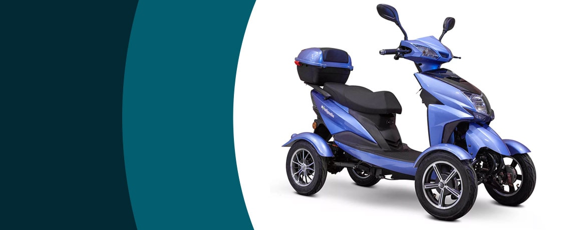 501-634   EWheels 4-Wheel 15 mph Top Speed Recreational Electric Scooter w Storage
