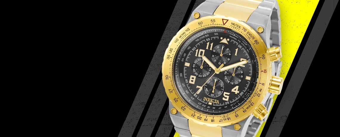 678-101 Invicta Men's 50mm Aviator Quartz Chronograph Bracelet Watch w 3-Slot Dive Case