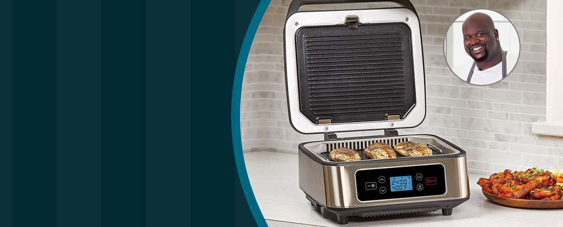 496-627 SHAQ 3-in-1 Smokeless Contact Grill & Press w Removable Grill Plates